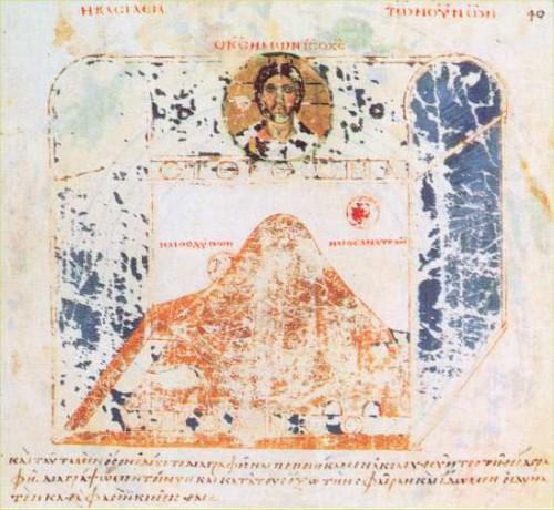 Die Welt im Tabernakel nach Cosmas Indicopleustes Topographia Christiana (6. Jahrhundert) (Digitalisat Wiki Commons)